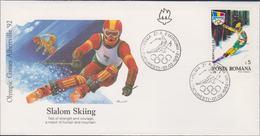 Romania FDC 1992 Olympic Games In Albertville - Slalom Skiing (G116-16) - Winter 1992: Albertville