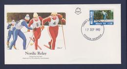 Nicaragua FDC 1992 Olympic Games In Albertville - Nordic Relay (G116-16) - Winter 1992: Albertville