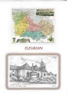 CARTES GÉOGRAPHIQUES - ( 22 ) LES COTES D'ARMOR - PLEUBIAN - L'ÉGLISE ET LA CARTE DU DÉPARTEMENT - CPM - VIERGE - - Cartes Géographiques