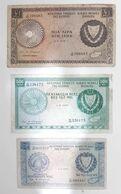 DH0904 - Cyprus 3 Banknotes: 1 Pound 1975 / 500 Mils 1979 / 250 Mils 1979 - Cyprus