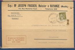 N° 287 PAIX 1F25 SEUL SUR LETTRE DE HAYANGE DU 10/11/33 - 1921-1960: Modern Tijdperk