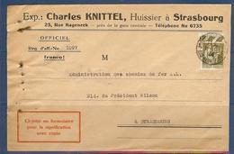 N° 287 PAIX 1F25 SEUL SUR LETTRE DE STRASBOURG DE 1934 - 1921-1960: Moderne