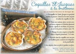 RECETTES DE CUISINE - LES BONNES RECETTES DE BRETAGNE - COQUILLES ST-JACQUES À LA BRETONNE - CPM - VIERGE - - Ricette Di Cucina