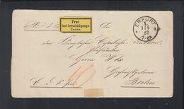 Dt. Reich Falthülle Frei Lt. Entschädigungskonto Erfurt 1882 - Cartas