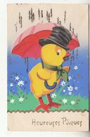 """Jolie Carte Fantaisie Avec Paillettes Et Découpis Poussin Sous Parapluie De """"Heureuses Pâques"""" - IDA - Pasqua"""