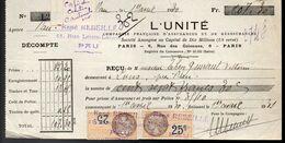 Prime D'Assurance - L'Unité  Pour Pau Du 1 Avril 1931 - Banca & Assicurazione