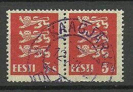ESTLAND Estonia 1932 O KAAGJÄRVE Violet Cancel Michel 77 As Pair - Estland