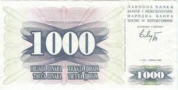 BOSNIA 1.000 DINARA 1992 PICK 15.A Ref 200-2 - Bosnia And Herzegovina