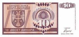 BOSNIA 10 DINARA 1992 PICK 133.a UNC Ref 203-1 - Bosnia And Herzegovina