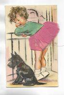 RARE Carte Postale  Illustrée Par Germaine BOURET, Non Titrée Et Légendée -  Fillette En Ajout Avec Jupe En Tissu - Bouret, Germaine