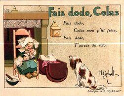 PUBLICITE .. ALCOLL DE MENTHE RICQLES .. CHANSON POUR ENFANT . FAIS DODO , COLAS .  D'APRES .H. GERBAULT - Alcohols