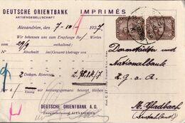 ! 1927 Deutsche Orientbank Alexandria, Ägypten, Egypt - Covers & Documents