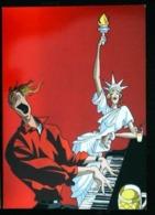 Illustration Ferdinand  ZACOT -  Le PIANISTE Jazz Américain  (Thème Piano Couple Statue De La Liberté Statue Of Liberty) - Musik Und Musikanten
