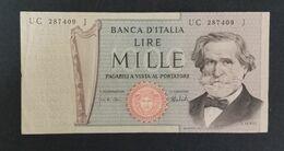 DH0904- Italy 1000 Lire Banknote 1975 #UC 287409 J - [ 2] 1946-… : Républic