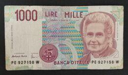 DH0904- Italy 1000 Lire Banknote 1990 #PE 927158 W - [ 2] 1946-… : Républic