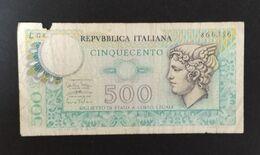DH0904- Italy 500 Lire Banknote 1974 #L08 866356 - [ 2] 1946-… : Repubblica