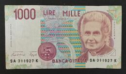 DH0904- Italy 1000 Lire Banknote 1990 #SA 311927 K - [ 2] 1946-… : Républic