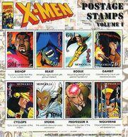 "Mongolia, 1995, Michel 2576-2584, Marvel Comics Characters  ""X-Men"", Sheet Of 8, MNH - Mongolia"