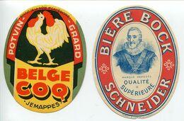 LOT 2 Étiquettes Anciennes BIÈRE Potvin Grard Belge Coq Jemappes & Bière Bock Schneider Portrait Roi Henri IV - Birra