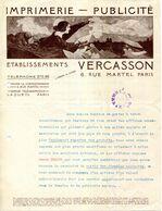 PARIS.IMPRIMERIE.PUBLICITE.Ets.VERCASSON 6 RUE MARTEL.. .(P.J) - Stamperia & Cartoleria