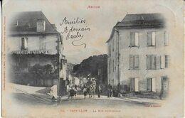 CASTILLON ( Ariège ) : Rue Principale  Animée : Cheval Et Ses 2 Cavaliers!-Hôtel Café PeyreVidal ( 1903). - Otros Municipios