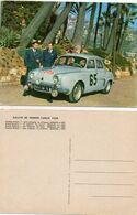 CPA. Rallye De Monte Carlo  1958. - Dauphine Renault - Pilotes Monraisse Et Feret -  Scan Du Verso - Rallyes