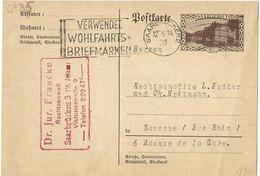 SAARGEBIET Ganzsache Entier - SAARBRÜCKEN 2 / VERWENDET WOHLFARTS- BRIEFMARKEN 12.6.1934 - Storia Postale