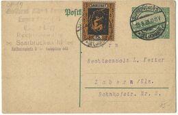SAARGEBIET Ganzsache Entier - SAARBRÜCKEN 3 / (ST. JOHANN) 1 - 18.8.1923 - Storia Postale