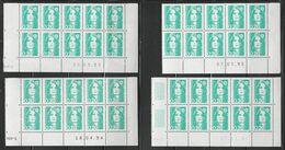 2618 20c émeraude BRIAT - 4 BLOCS Datés De 10 - RGR1 Du 20.09.93 / 18.04.94 / 07.03.95 / 23.11.95 Avec Guillochis - 1989-96 Maríanne Du Bicentenaire