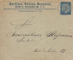 Allemagne Poste Locale Berlin Enveloppe Entier Postal Oblitéré, Bière, Beer, Bier. Berliner Unions-Brauerei - Birre