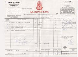 Factuur - La Bonne Cave - Het Anker Mechelen 1971 - Levensmiddelen