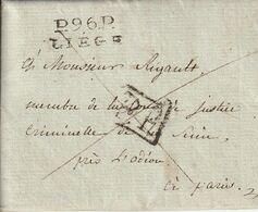 Département Conquis Marque Postale Avec Correspondance  P96P /  LIEGE An 13 - 1792-1815: Dipartimenti Conquistati