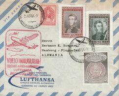 Argentine Lettre Vol Inaugural Pour L'Allemagne 1956 - Briefe U. Dokumente