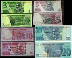 Zimbabwe - Set 4 Banknotes 2 5 10 20 Dollars 2019 ( 2020 ) HYBRID UNC Lemberg-Zp - Zimbabwe