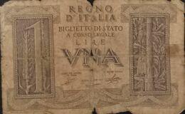 DH0904- Italy 1 Lira Banknote 1939 - [ 1] …-1946: Königreich
