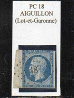 Lot-et-Garonne - N° 14A (déf) Obl PC 18 Aiguillon - 1853-1860 Napoleone III