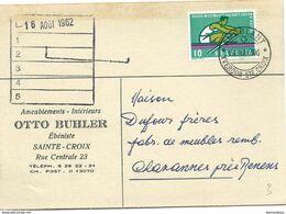 """128 - 11 - Carte Avec Cachet Chemins De Fer """"Ambulant Yverdon-Ste Croix 1962"""" - Poststempel"""