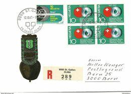 """128 - 17 - Enveloppe Recommandpée Avec Oblit Spéciale """"OLMA St Gallen 1967"""" - Marcofilie"""