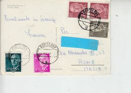 SPAGNA  1969 -  Franco  - 4 Valori Differenti Su Lettera Per Italia - 1931-Aujourd'hui: II. République - ....Juan Carlos I