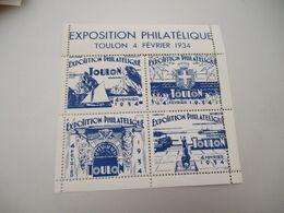 Erinnophilie  1bloc De 4 Toulon 1934exposition Philatelique Surcharge Vignette - Expositions Philatéliques