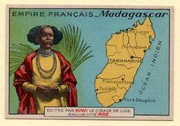 Chromo Publicitaire Cirage Kiwi. Série Empire Français : Madagascar. - Otros
