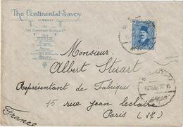 ESC Illustrée The Continental-Savoy Hôtel, 15M. Le Caire -> France 1929 - Brieven En Documenten