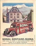 PUBLICITE BONAL GENTIANE-QUINA DISTILLERIE  A SAINT LAURENT DU PONT  FORMAT OUVERT 21 X 13 CM - Advertising
