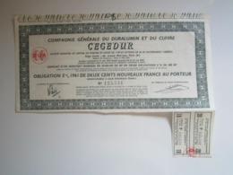 """OBLIGATION 5% 1961 DE 200 NOUVEAUX FRANCS AU PORTEUR """"COMPAGNIE GENERALE DU DURALUMIN ET DU CUIVRE"""" CEGEDUR - Autres"""