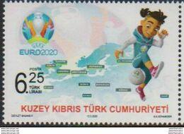 TURKISH CYPRUS, 2020, MNH, FOOTBALL, SOCCER, EURO 2020, 1v - Otros