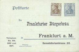 Allemagne Carte Postale Entier Postal Neuf, Thème Bière, Beer, Bier. Frankfurter Bürgerbräu - Birre
