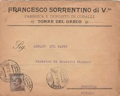 LETTERA 1922 C.40 DITTA FRANCESCO SORRENTINO TIMBRO TORRE DEL GRECO (ZX45 - Marcophilia