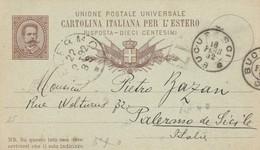 INTERO POSTALE PER L'ESTERO C.10 1892 TIMBRO BUCURESCI (ROMANIA?) PALERMO (ZX288 - Interi Postali