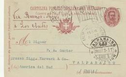 INTERO POSTALE CON RISPOSTA 1903 STAMPA 1898 TIMBRO BANDIERA-ARRIVO VALPARAISO-CILE (ZX289 - 1900-44 Vittorio Emanuele III