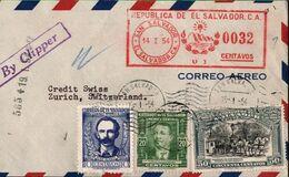 ! 1954 Luftpost Brief Aus El Salvador Nach Zürich, Schweiz, Meter Cancel, Freistempel, Airmail, Par Avion, Correo Aereo - El Salvador